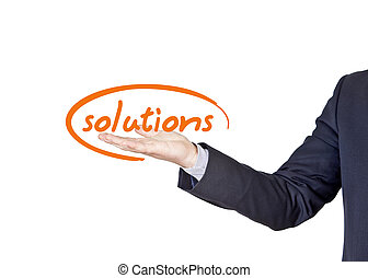 business solutions - businessman who offers solutions for...