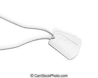US Army Dog Tag on white background
