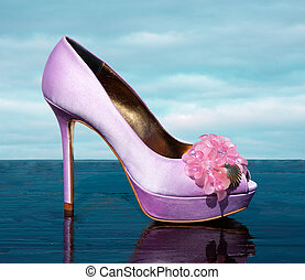 Lilac fashionable stiletto peep toe with marine golden...