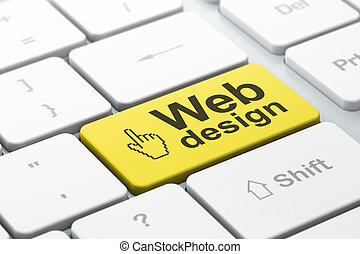 Web design concept: computer keyboard with Mouse Cursor icon...
