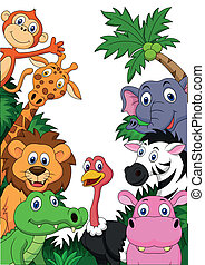 Safari animal cartoon background - Vector illustration of...