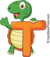 Alphabet T with turtle cartoon