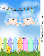 twin baby boys on clothesline - Twin baby boys hanging from...