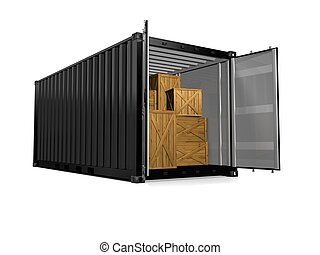 3D render of a freight container on white background