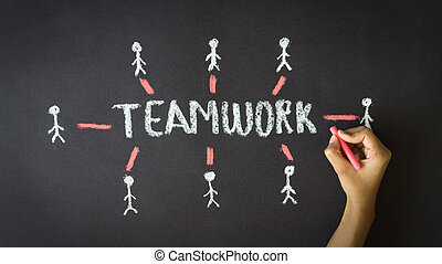 Teamwork Chalk Illustration
