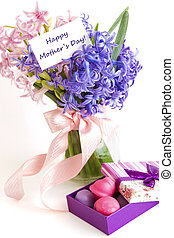 Mothers Day Concept with candies - Gift for Mothers Day with...