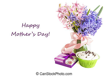 Mothers Day Concept - Gift for Mothers Day with flowers and...