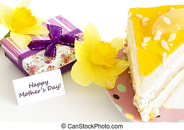 Mothers Day Concept with cake - Gift for Mothers Day with...