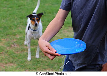 Throwing a Frisbee - Close up view of someone throwing a...