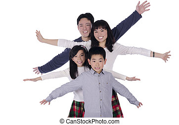 Happy family smiling over white background