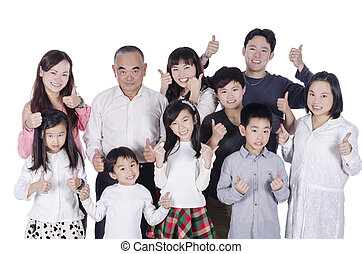 Multi generation family thumbs up