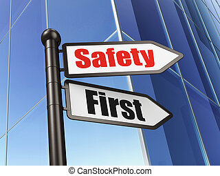 Protection concept: Safety First on Business Building background, 3d render