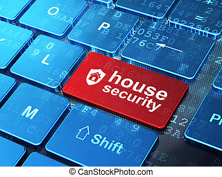 Security concept: computer keyboard with Shield icon and word House Security on enter button background, 3d render