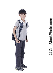 Happy smart boy ready for school over white background