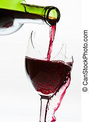 Wine overflow in the the broken glass