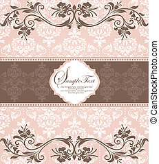 invitation card on damask backgroun - pink vintage damask...