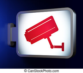 Safety concept: Cctv Camera on billboard background
