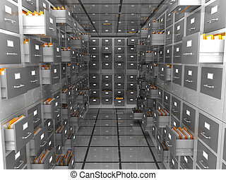 archive - abstract 3d illustration of data storage room