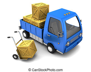 truck with crates - 3d illustration of truck with crates,...