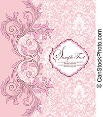 damask card - Invitation vintage card with floral elements