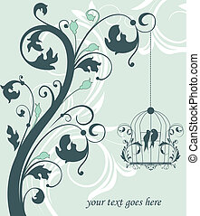 blue swirly invitation card with ca - Love Birds Sitting In...