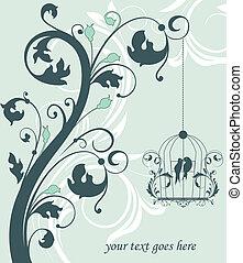 blue swirly invitation card with ca - Love Birds Sitting In...