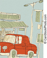Gas Station - This illustration is a common cityscape.