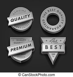 Set premium quality and guarantee labels three-dimensional -...
