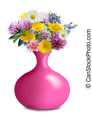 meadow flowers in pink vase isolated on white background