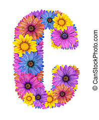 Alphabet from flowers - Alphabet of colorful dewy flowers,C