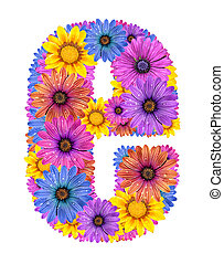 Alphabet from flowers - Alphabet of colorful dewy flowers,E