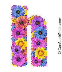 Alphabet from flowers - Alphabet of colorful dewy flowers,H