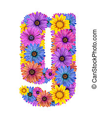 Alphabet from flowers - Alphabet of colorful dewy flowers,G