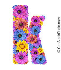 Alphabet from flowers - Alphabet of colorful dewy flowers,K