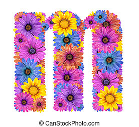 Alphabet from flowers - Alphabet of colorful dewy flowers,M