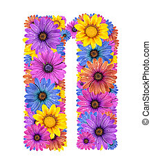 Alphabet from flowers - Alphabet of colorful dewy flowers,N