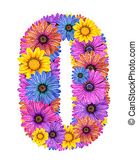 Alphabet from flowers - Alphabet of colorful dewy flowers,O