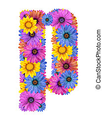 Alphabet from flowers - Alphabet of colorful dewy flowers,P