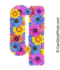 Alphabet from flowers - Alphabet of colorful dewy flowers,Q