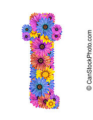 Alphabet from flowers - Alphabet of colorful dewy flowers,T
