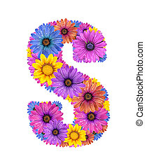 Alphabet from flowers - Alphabet of colorful dewy flowers, S...