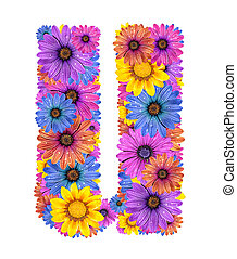Alphabet from flowers - Alphabet of colorful dewy flowers, U...