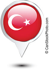 Turkey flag location map pin on white