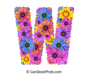 Alphabet from flowers - Alphabet of colorful dewy flowers, w