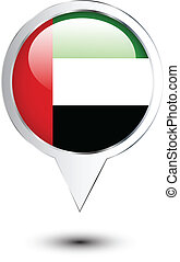 United Arab Emirates flag map location pin on white
