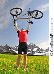 biker with the mountain bike