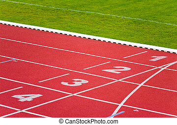 Sport track lanes - Numbers on track lanes in sports runway