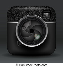 Total black professional photo camera icon - Total black...