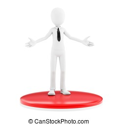 3d man businessman welcoming with open arms on white...