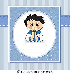 First Communion boy - First Communion Invitation Card. Boy